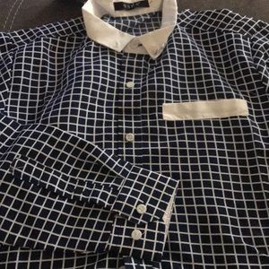 Navy & white mens dress shirt